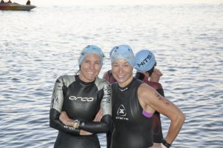 Swim partner Wendy and I b4 start of 70.3 tri