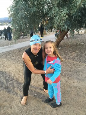 Swim start of Hits Havasu 70.3 with my girl