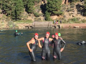 Swim start with my training partners Angi and Kathy